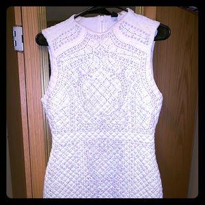 BALMAIN INSPIRED white beaded cocktail dress